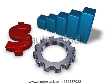 dollar symbol, business graph and gear wheel on white background - 3d illustration - stock photo