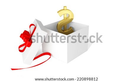 dollar symbol in a gift box with red bow - stock photo