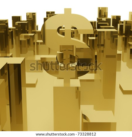 dollar symbol in an abstract city - stock photo