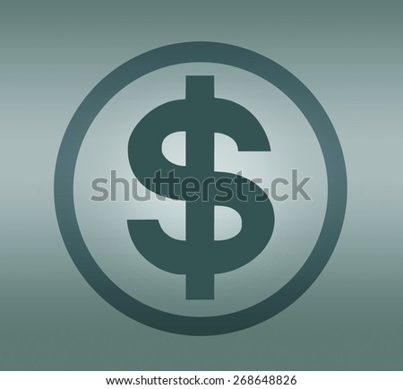 Dollar symbol in circle on grey