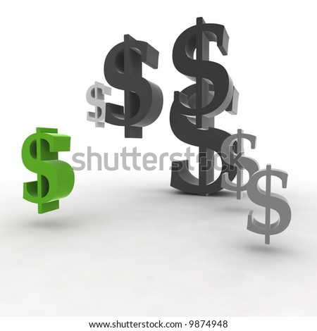 dollar symbol in the air - 3d illustration isolated on white background