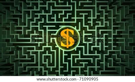 Dollar symbol in the maze - stock photo