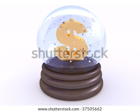 Dollar symbol inside glass snow ball