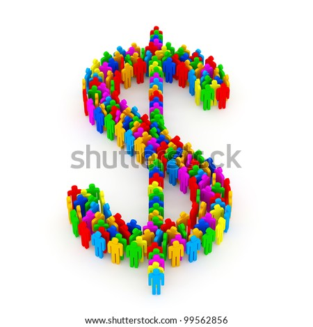 Dollar Symbol made from Colorful People on white background