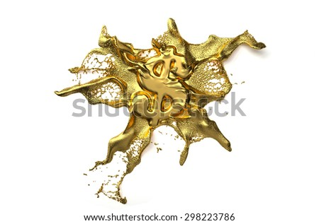 dollar symbol melts into liquid gold. path included - stock photo