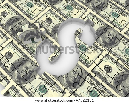 dollar symbol on a puzzle game - stock photo