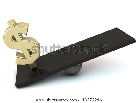 Dollar symbol on a scale on white background - stock photo