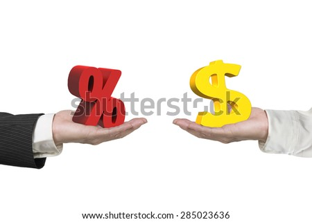 Dollar symbol on one hand and percentage sign on another hand, isolated on white, concept of deal and profit.