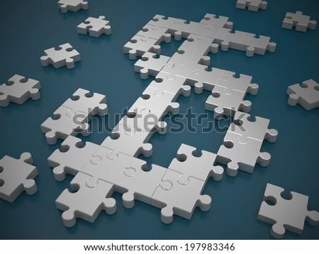 Dollar symbol puzzle - stock photo