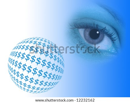 Dollar symbols in shape of ball overlooked by eye - stock photo