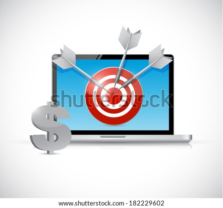 dollar target and laptop business concept illustration design over a white background - stock photo