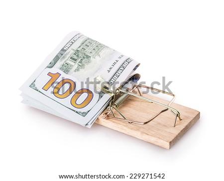 dollar trap Isolated on white background - stock photo