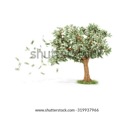dollar tree with hundred dollar bills and with wind Isolated over white - stock photo