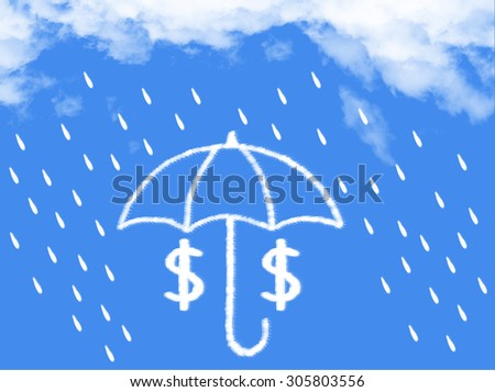 dollar under the umbrella cloud shape