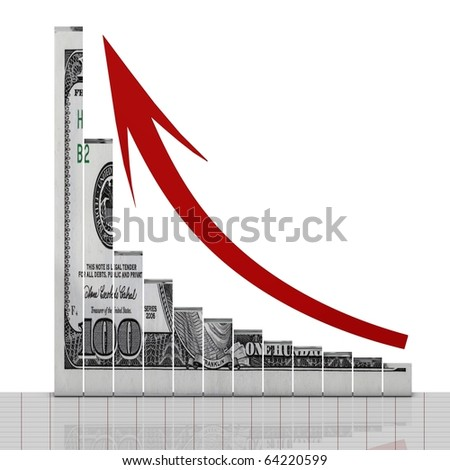 Dollar up symbol - stock photo