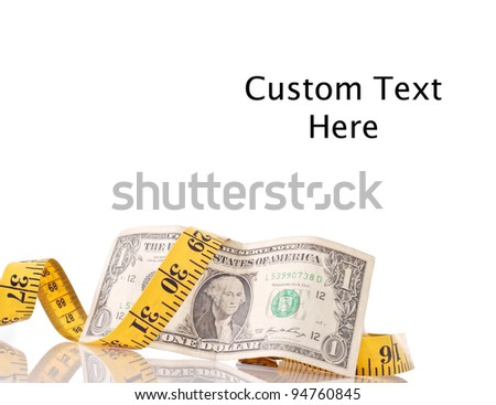 Dollar with Tape Measure for Budget Cut Concepts - stock photo