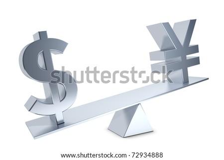 Dollar, Yen, Renminbi Dollar sign and Yen and Renminbi sign on a silver swing - stock photo