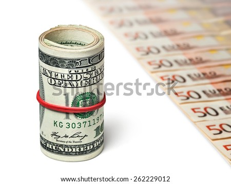 Dollars and euros - stock photo