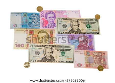 Dollars and hryvnia on a white background isolated