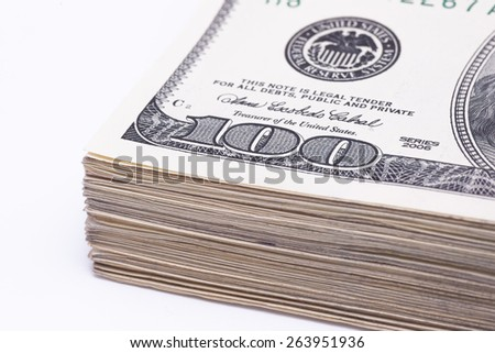 Dollars and Isolated On White - stock photo