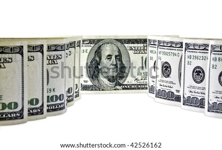 dollars are isolated on a white background