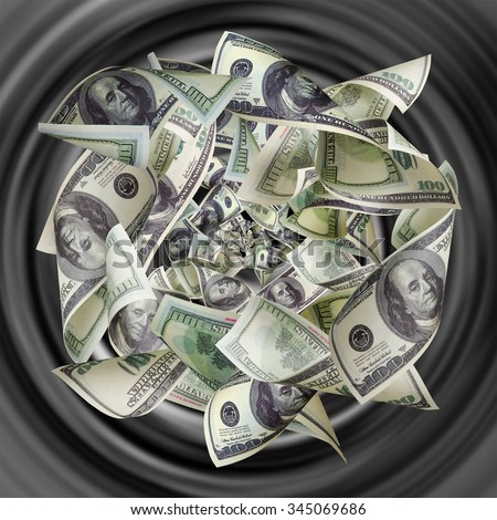 Dollars are tightened to the funnel - stock photo