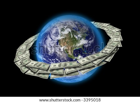 Dollars Around The World. Original World map texture used from (http://visibleearth.nasa.gov). - stock photo