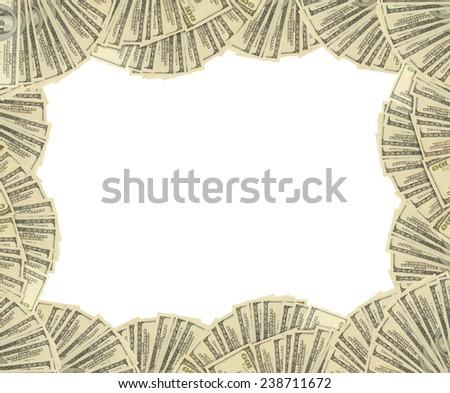 Dollars banknotes frame. money background - stock photo