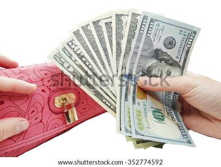 dollars banknotes money in red wallet and hands                                - stock photo