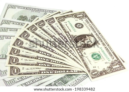 dollars bills currency isolated white background