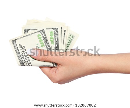 dollars bills in hand isolated on white, money