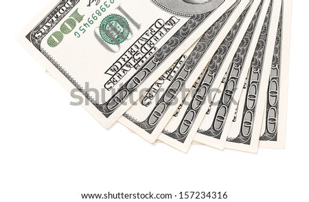Dollars bills isolated on white a background - stock photo