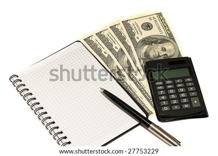 dollars, calculator and notebook. business and financial concept - stock photo