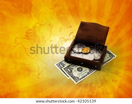 Dollars chest on cool background - stock photo