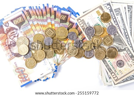 Dollars different bills and bills of one hundred shekels. Coins of different denominations Israeli bank. - stock photo