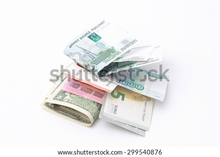 Dollars, euro and russian money rubles