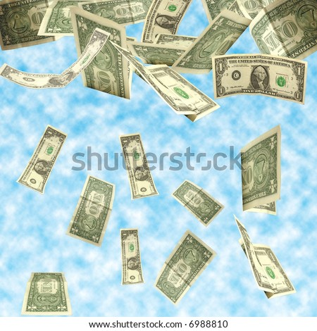 dollars fall isolated on cloudy sky background - stock photo