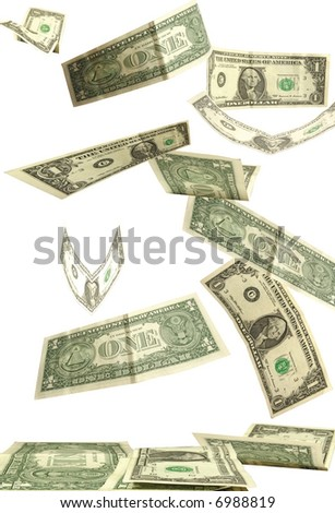 dollars fall isolated on white background - stock photo