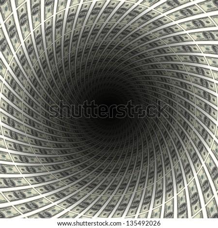 Dollars flow in black hole, 3d illustration. - stock photo