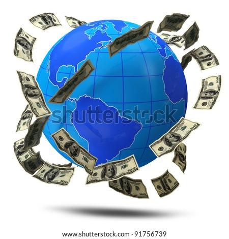 Dollars flying around Planet on white background - stock photo