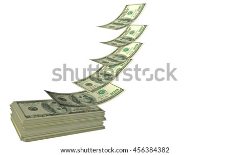 dollars flying on a pile isolated, 3e rendering  - stock photo