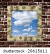 Dollars frame with sky image inside and grunge wall background - stock photo