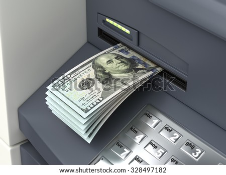 Dollars from ATM - stock photo