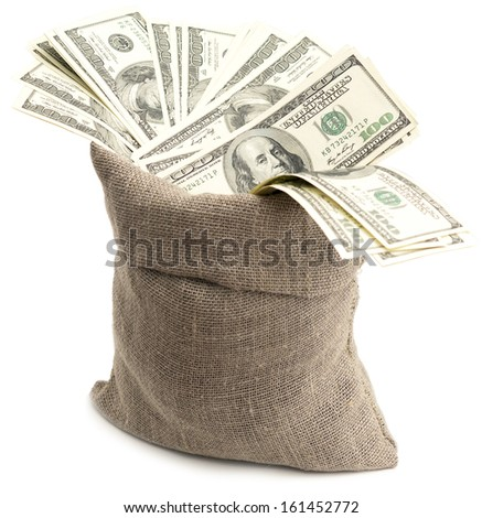 dollars in a burlap sack isolated on white background
