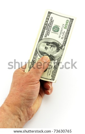 Dollars in a man's hand on a white background - stock photo