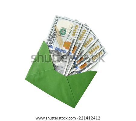 dollars in an envelope on a white background