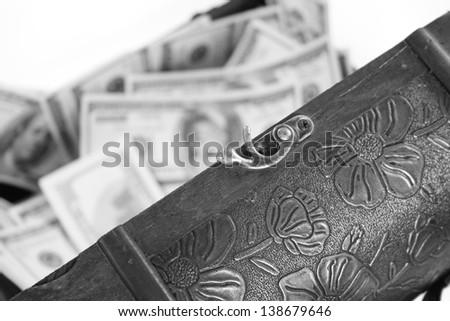 dollars in case - stock photo