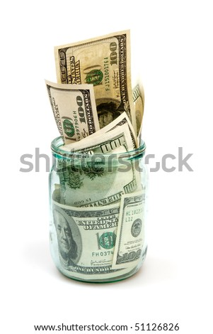 dollars in glass can isolated on white - stock photo