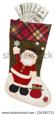 Dollars in green and white stocking with Santa Claus isolated on white background - stock photo