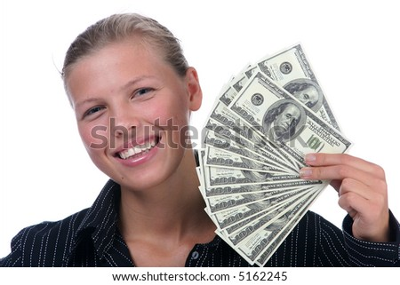 dollars in hand of the women